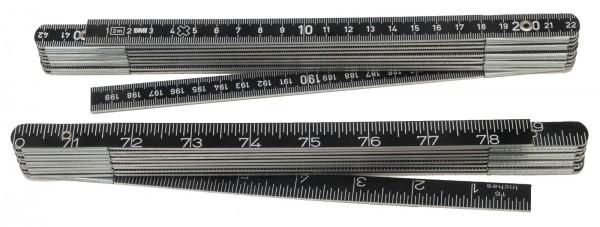 Metall-Massstab, 2 m, schwarz eloxiert, mm/Inch