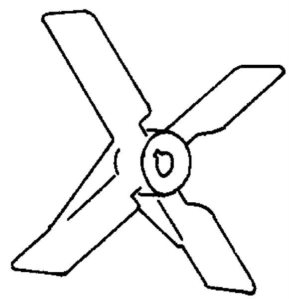 Laufrad ø 180 mm vierflügel.